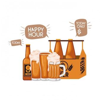 Boîte à bouteilles de bière et icône isolé verre