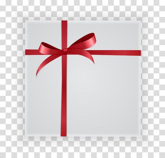 Boîte de cadeau abstrait de noël et du nouvel an sur transparent.