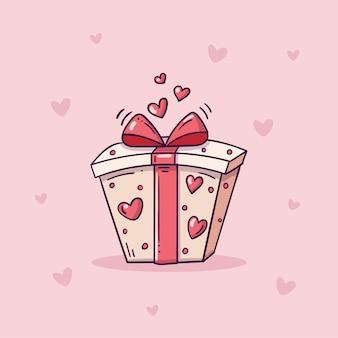 Boîte cadeau blanche avec coeurs rouges et ruban dans un style doodle