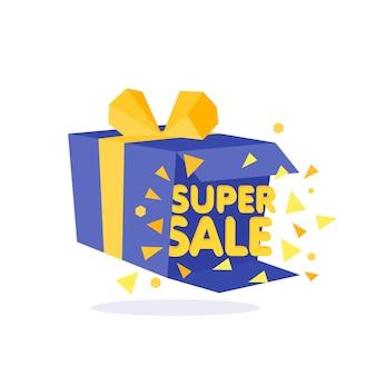 Boîte-cadeau bleu ouvert et bannière de confettis