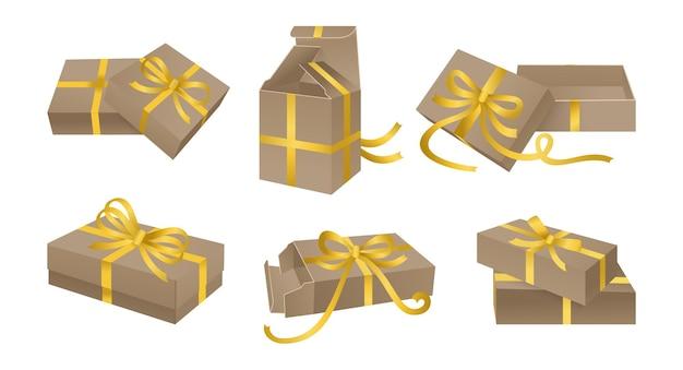 Boîte cadeau en carton avec jeu de nœuds. récipient avec décoration de ruban de ruban d'or. collection de modèles de diverses boîtes.