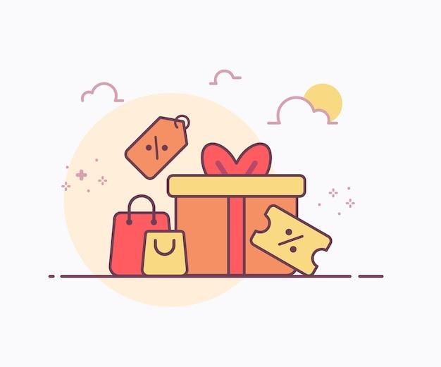 Boîte-cadeau de concept de grande vente autour de l'icône de sac de prix d'étiquette de bon avec illustration de conception de vecteur de style de ligne solide de couleur douce
