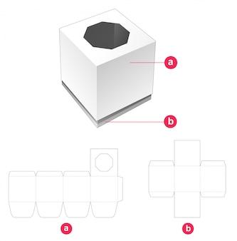 Boîte-cadeau et couvercle avec gabarit découpé à la fenêtre octogonale
