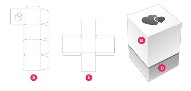 Boîte-cadeau et couvercle avec modèle de découpe de fenêtre coeurs