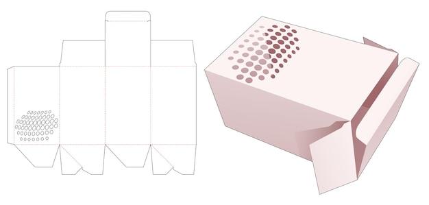 Boîte-cadeau d'emballage avec des points de demi-teintes au pochoir modèle découpé