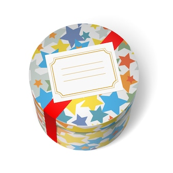 Boîte de cadeau de fête avec des étoiles et ruban rouge