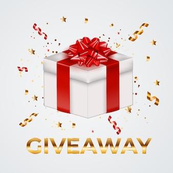 Boîte-cadeau de fête avec noeud et ruban. giveaway for social network.