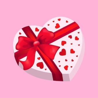 Boîte-cadeau en forme de coeur saint valentin célébration concept flyer bannière d'amour ou carte de voeux