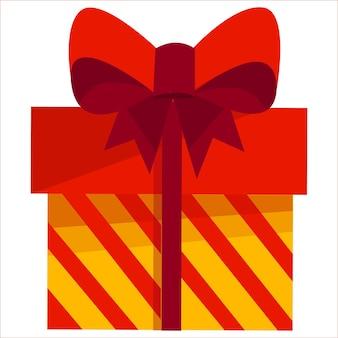 Une boîte-cadeau avec un grand arc rouge illustration sur fond blanc nouvel an