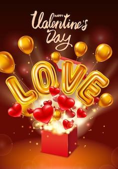 Boîte de cadeau happy valentines day ouverte, ballons brillants métalliques à l'hélium d'or d'amour réalistes, présents avec des coeurs volants, des ballons