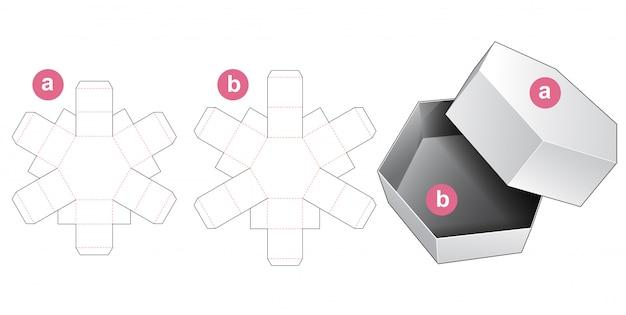 Boîte cadeau hexagonale et modèle découpé avec couvercle