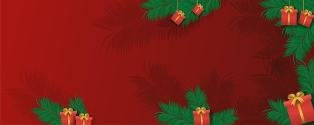 Boîte de cadeau de noël, bonne année vacances célébration concept carte de voeux hiver minimaliste large fond horizontal illustration vectorielle