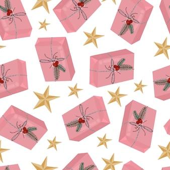 Boîte-cadeau de noël et modèle sans couture d'étoile isolé sur fond blanc. illustration vectorielle dessinés à la main