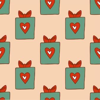 Boîte cadeau noël motif fond médias sociaux post décoration noël illustration vectorielle