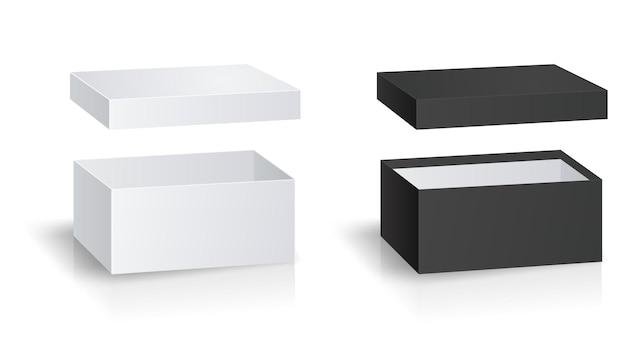 Boîte-cadeau noir et blanc isolé sur fond blanc