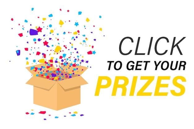 Boîte-cadeau ouverte avec explosion de confettis à l'intérieur. fond de noël. participez pour gagner des prix avec un coffret cadeau. cliquez pour obtenir vos prix. confettis volant de boîte-cadeau. cadeau pour la promo dans le réseau social