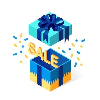 Boîte cadeau ouverte avec noeud, ruban sur fond blanc. paquet rouge isométrique, surprise avec des confettis. vente, shopping. vacances, noël, anniversaire.