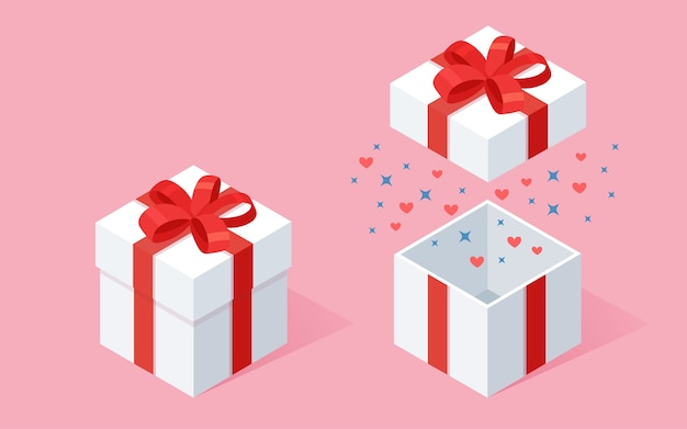 Boîte cadeau ouverte avec noeud, ruban sur fond rose. paquet rouge isométrique, surprise avec des confettis. vente, shopping. vacances, noël, anniversaire.