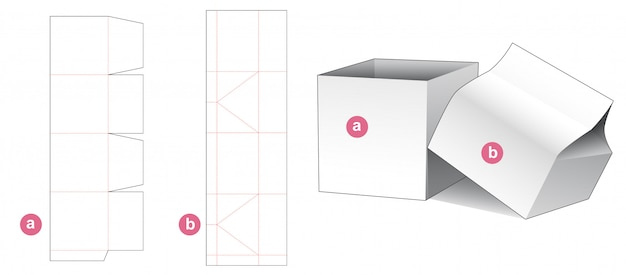 Boîte cadeau pliante et modèle découpé avec couvercle