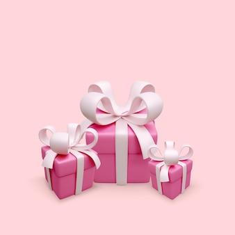Boîte cadeau rose carte de voeux de noël fête des mères ou des femmes boîtes présentes illustration vectorielle
