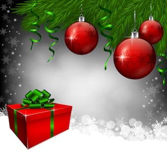 Boîte cadeau rouge et boules de noël