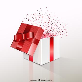 Boîte-cadeau rouge avec des confettis