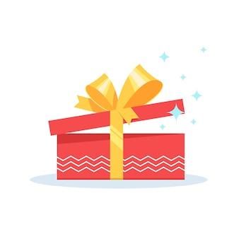 Boîte cadeau rouge ouverte présente une surprise avec un arc jaune sur fond blanc.