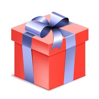 Boîte cadeau rouge réaliste avec noeud et ruban