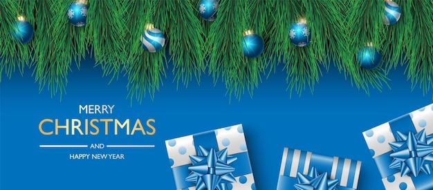 Boîte de cadeaux de conception de fond de bannière de noël sur le fond bleu
