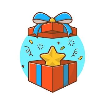 Boîte de cadeaux avec illustration étoile