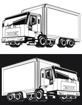 Boîte de cargaison logistique de camion de livraison de silhouette