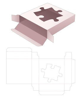 Boîte carrée en étain avec gabarit de découpe de fenêtre en forme de scie sauteuse