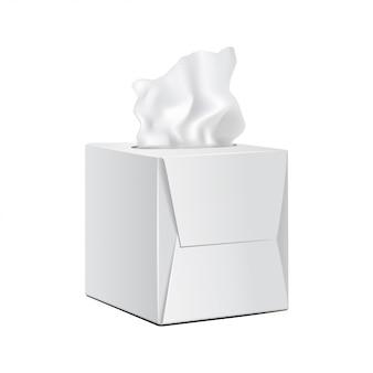 Boîte carrée avec serviettes en papier.