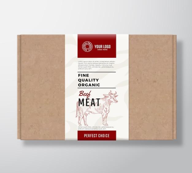 Boîte en carton artisanal de bœuf biologique de qualité supérieure.