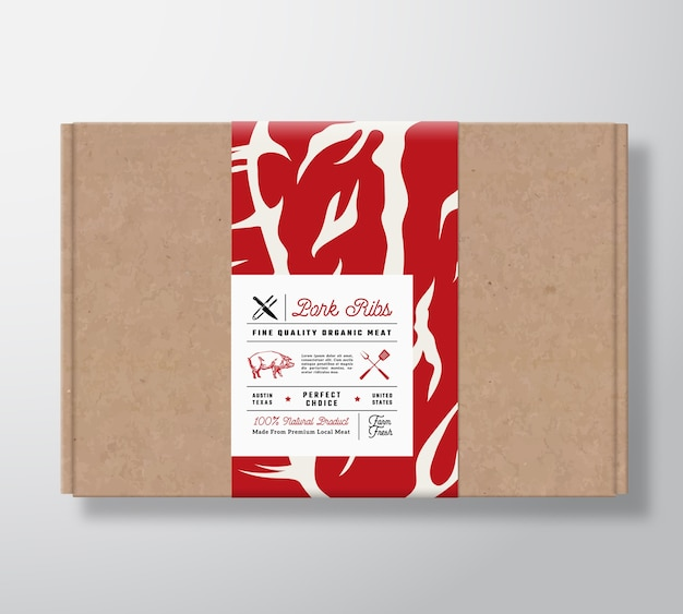 Boîte en carton artisanal de côtes de porc de qualité supérieure.