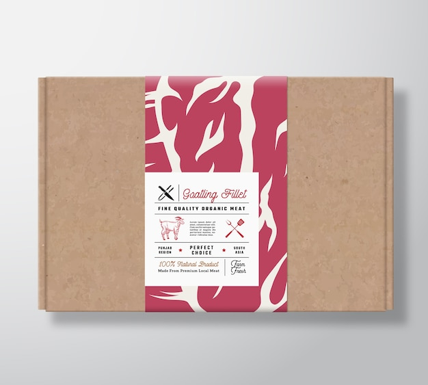 Boîte en carton artisanal de filets de chèvre de qualité supérieure. conteneur en papier de viande avec