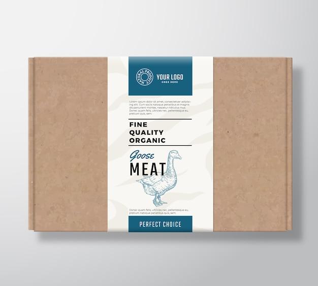 Boîte en carton d'artisanat d'oie biologique de qualité fine.