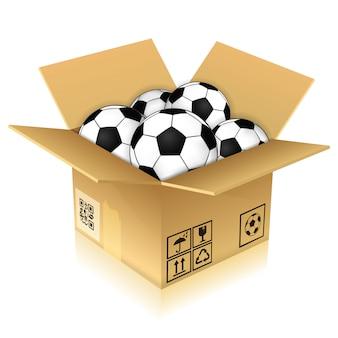Boîte en carton avec ballons de foot