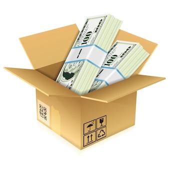 Boîte en carton avec billets d'un dollar