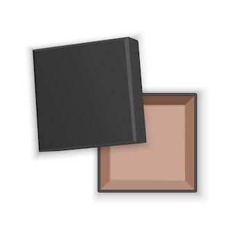 Boîte en carton carré vide ouvert noir réaliste, isolé