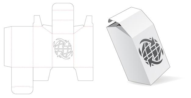 Boîte en carton chanfreinée avec gabarit de découpe de fenêtre de connexion globale