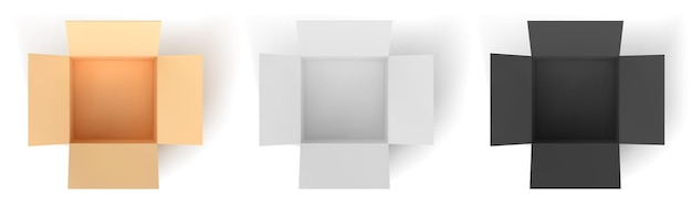 Boîte en carton : couleur, noir, blanc. boîtes ouvertes vides isolées sur fond blanc. illustration vectorielle.