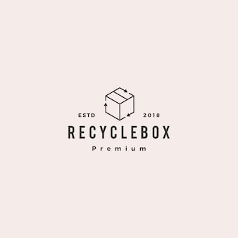 Boîte de carton d'emballage recycler l'icône du logo