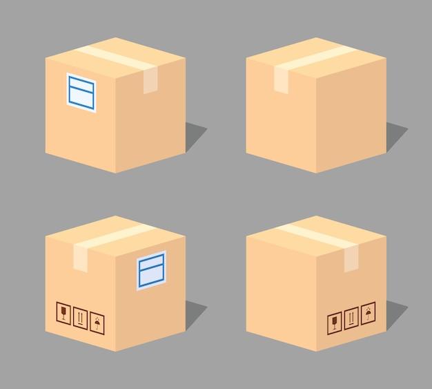 Boîte en carton fermée. illustration vectorielle isométrique lowpoly 3d.