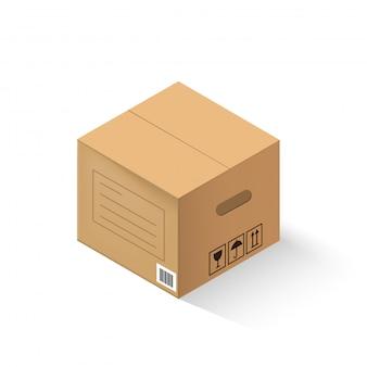 Boîte en carton fermée isolée sur fond blanc.