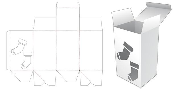 Boîte en carton avec gabarit de découpe de chaussette de noël au pochoir