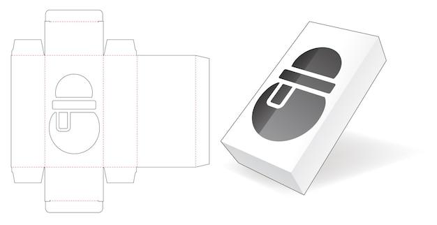 Boîte en carton avec gabarit de découpe de fenêtre bonhomme de neige