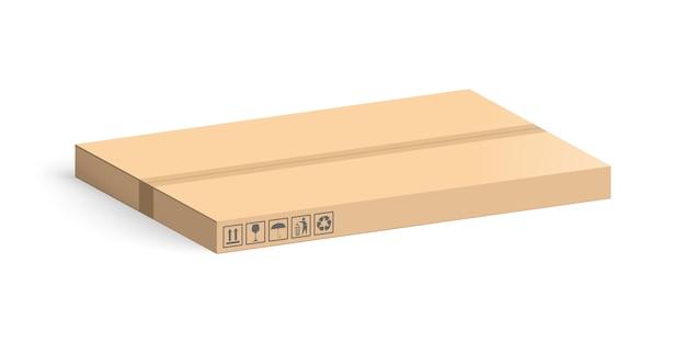 Boîte en carton isolé sur fond blanc. boîtes de mise en page pour la livraison.