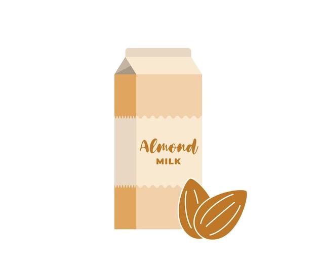 Boîte en carton de lait d'amande. emballage de produit de boisson végétarienne sans lactose. emballage en carton de boisson laitière écologique aux noix végétaliennes saines. illustration vectorielle plane isolée