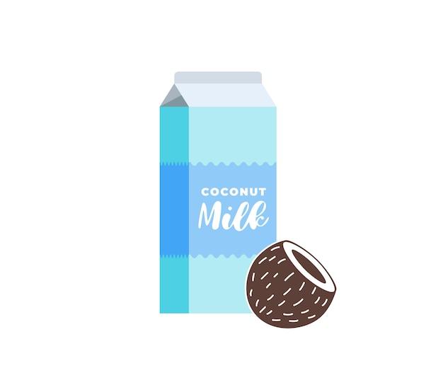 Boîte en carton de lait de coco végétarienne boisson sans lactose paquet sain végétalien coco eco laiterie